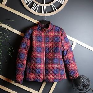 Faded Glory Plaid Womens Large Down Puffer Jacket